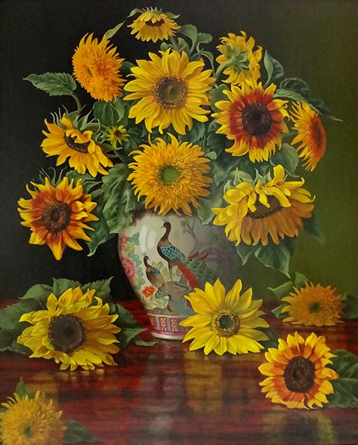 Christopher Pierce - Sunflowers in a Peacock Vase