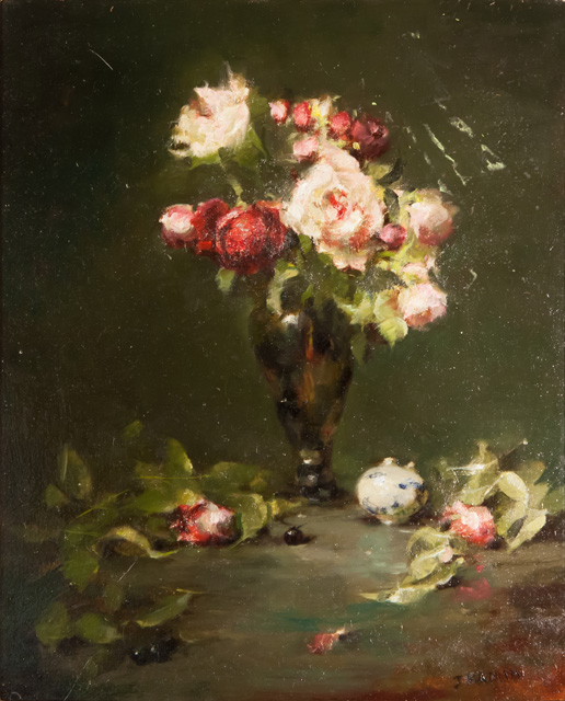 Jacqueline Kamin - Pink Roses in Green Glass