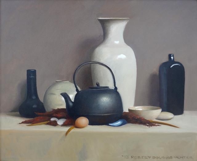 Robert Douglas Hunter - Arrangement with Crockery, Iron and an Egg