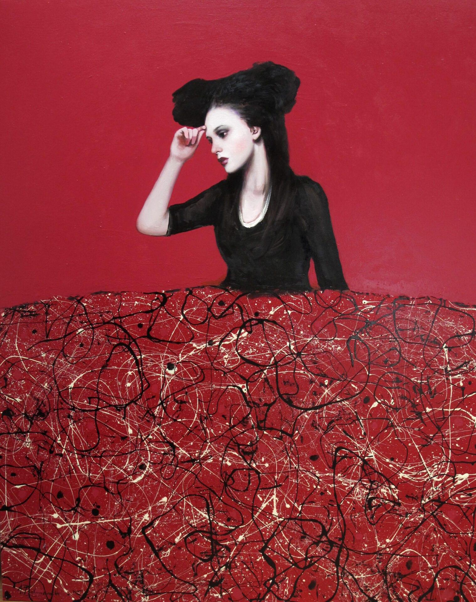 "Menina Roja   Alfredo Palmero   Oil   64 x 51"""