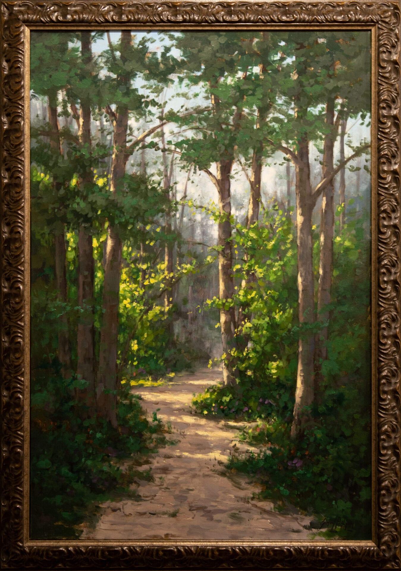 "Sunlight in the Forest   Simon Balyon   Oil   36 x 24"""