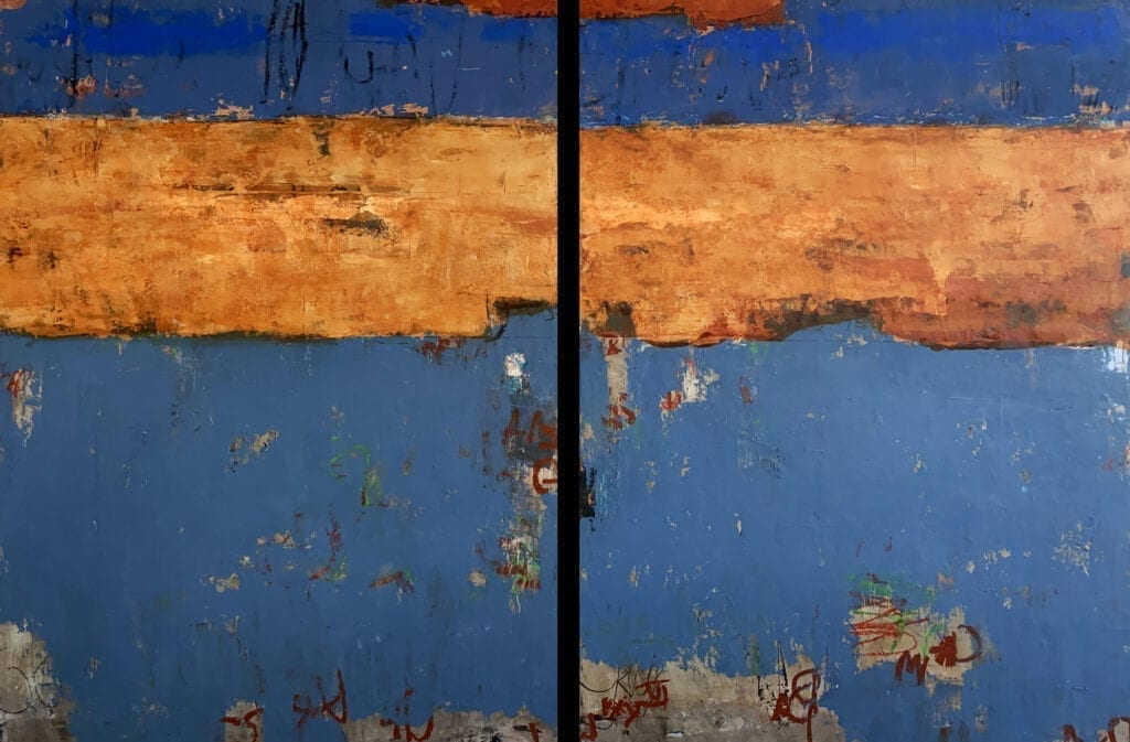 "Trovare Blu | Allison B. Cooke | Oil/Mixed Media | 40 x 60"" (diptych)"