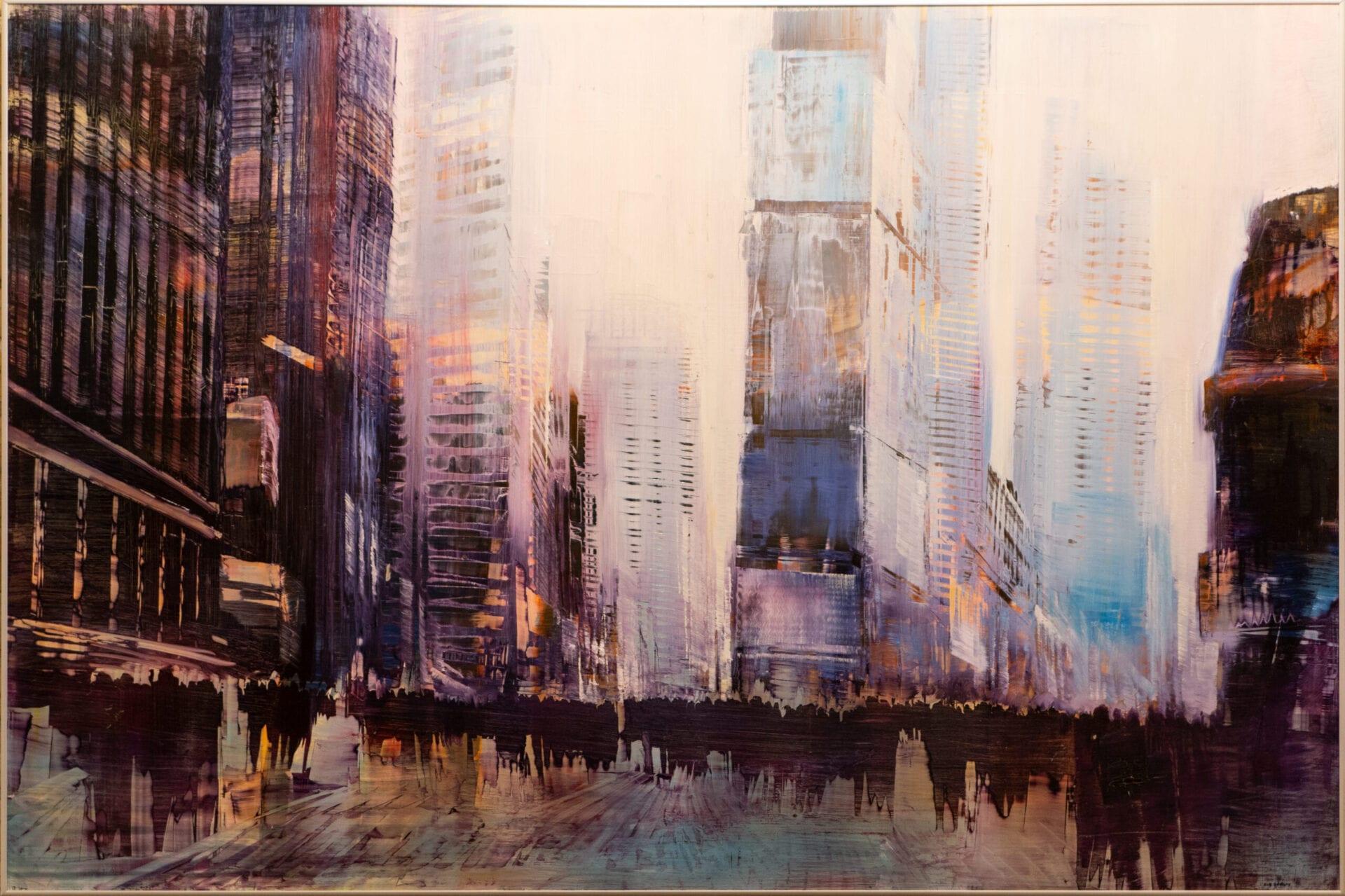 "Times Square Luminous Atmosphere | David Dunlop | Oil on Aluminum | 40 x 60"""