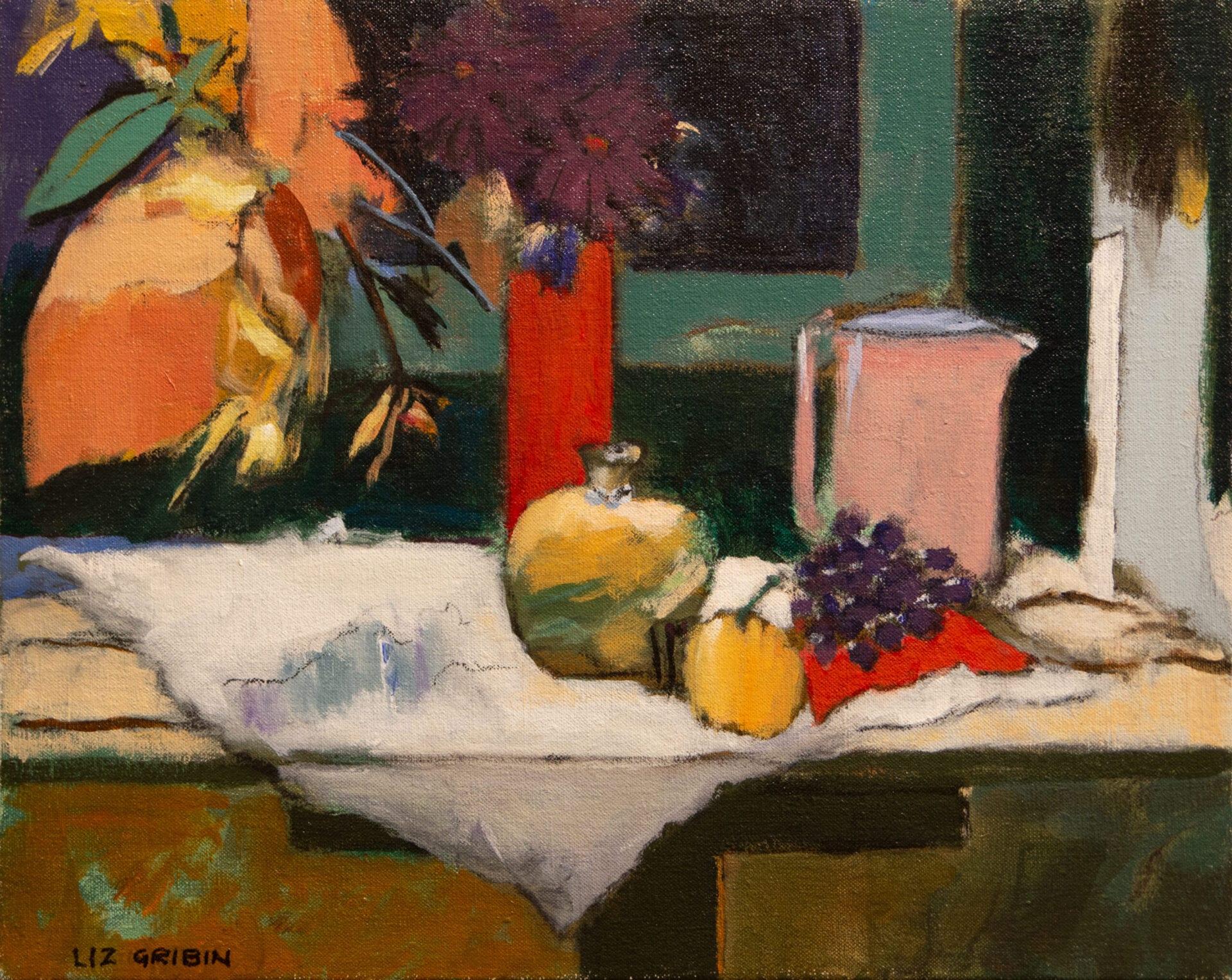 "A Small Green Room   Liz Gribin   Acrylic   16 x 20"""
