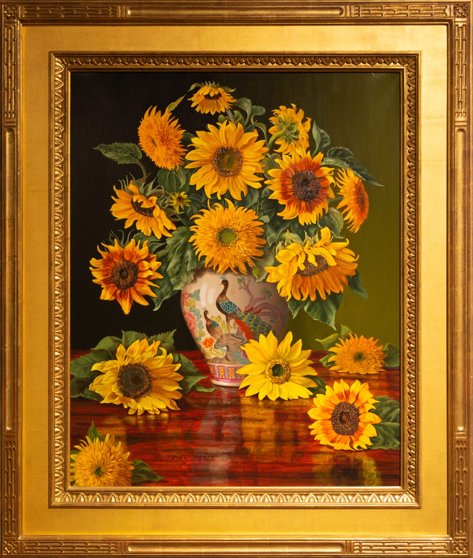 Sunflowers in a Peacock Vase | Christopher Pierce | Oil | 30 x 24""
