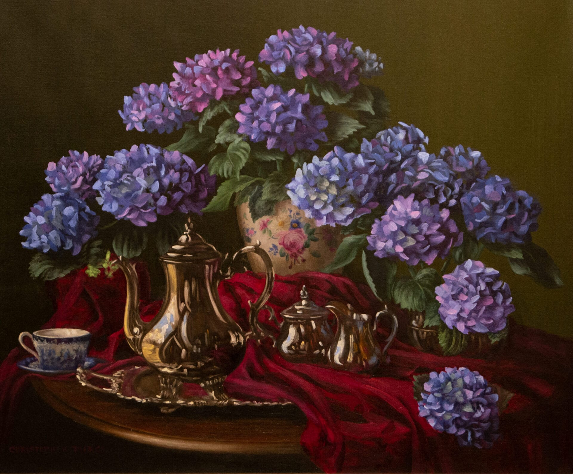 Christopher Pierce - Blue Hydrangeas and Tea