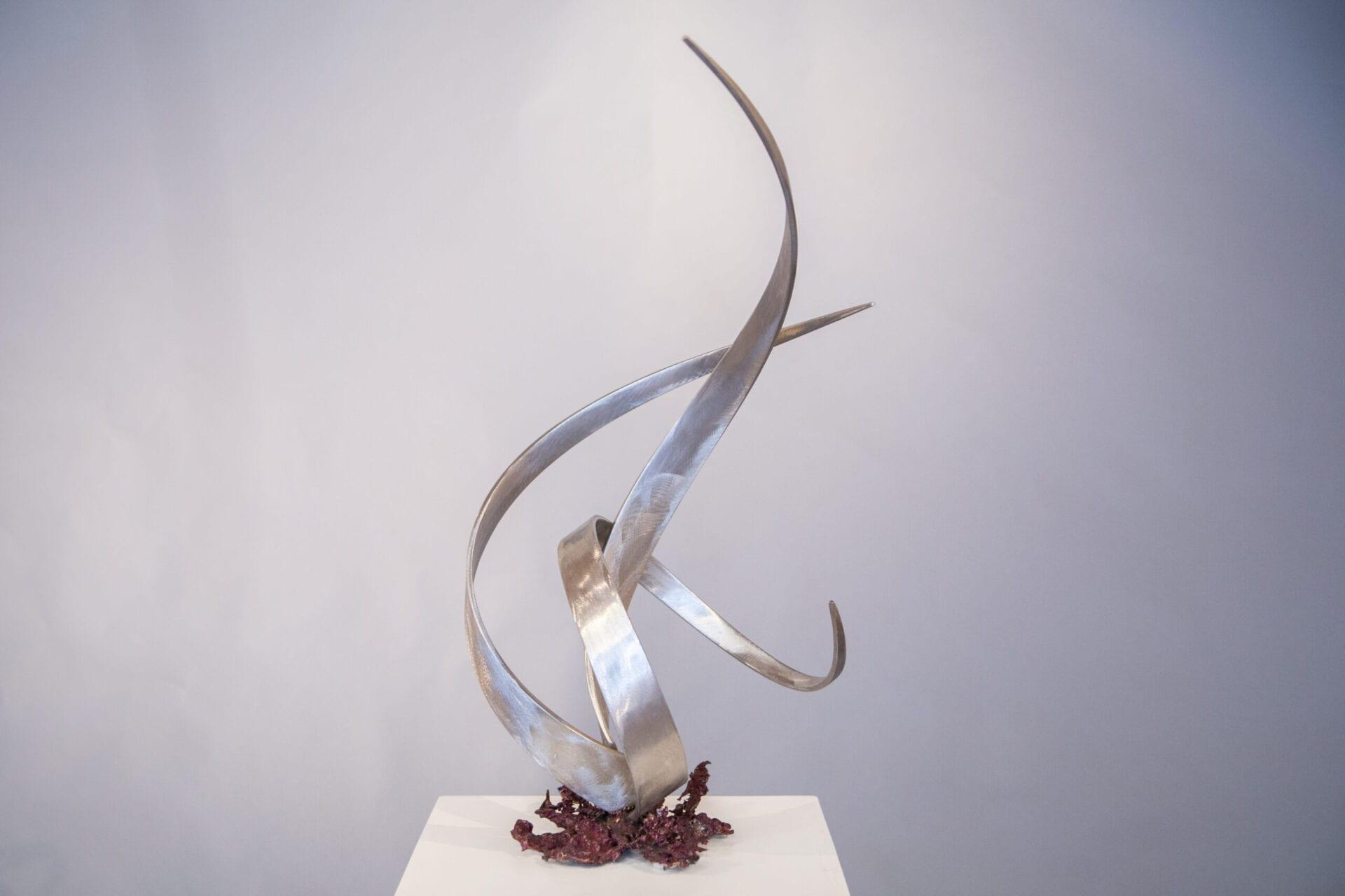"Genesis 1:1 Series | Bruce Niemi | 27 x 17 x 14"" | stainless steel, bronze, patina"
