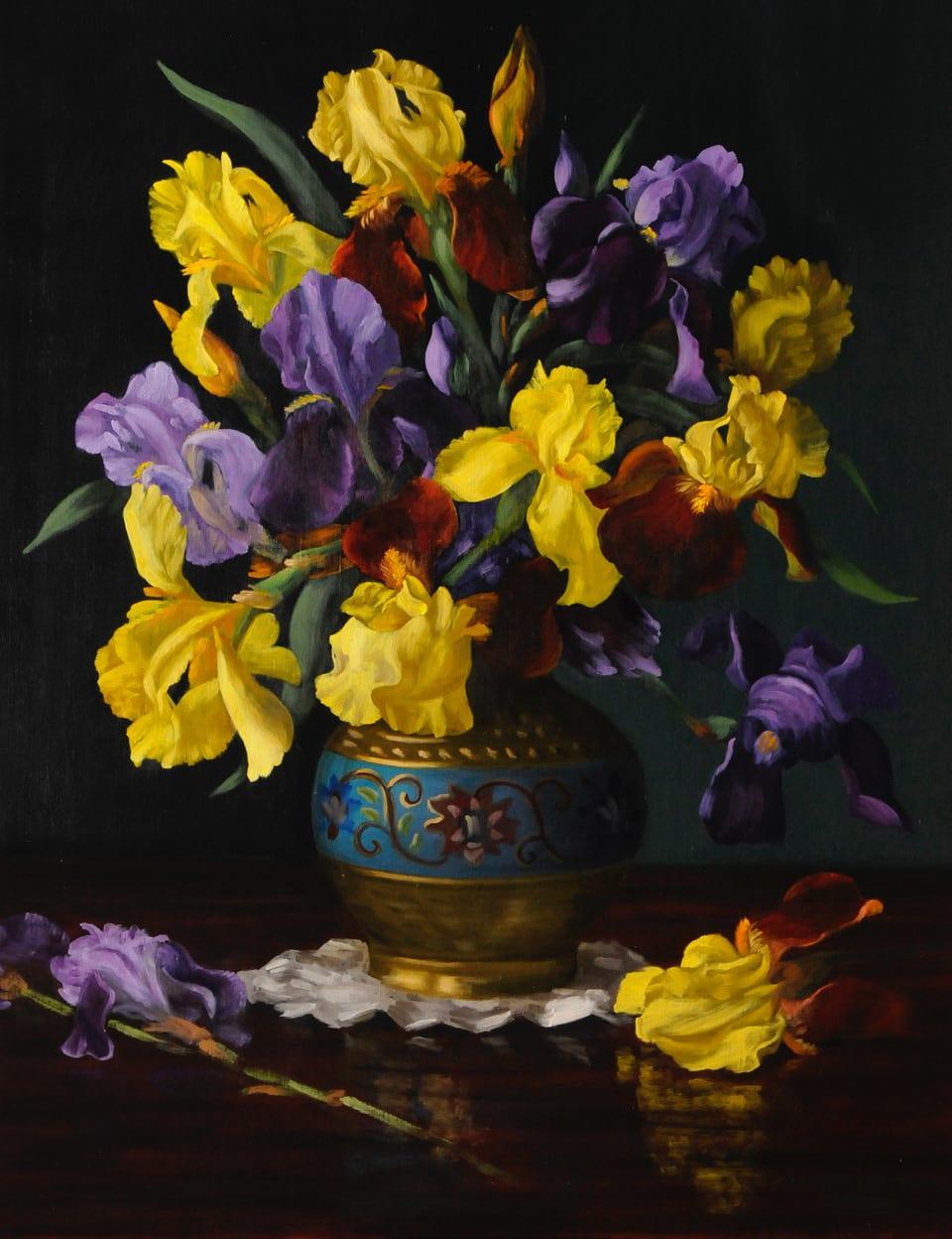 Christopher Pierce - Iris in Cloisonne Vase