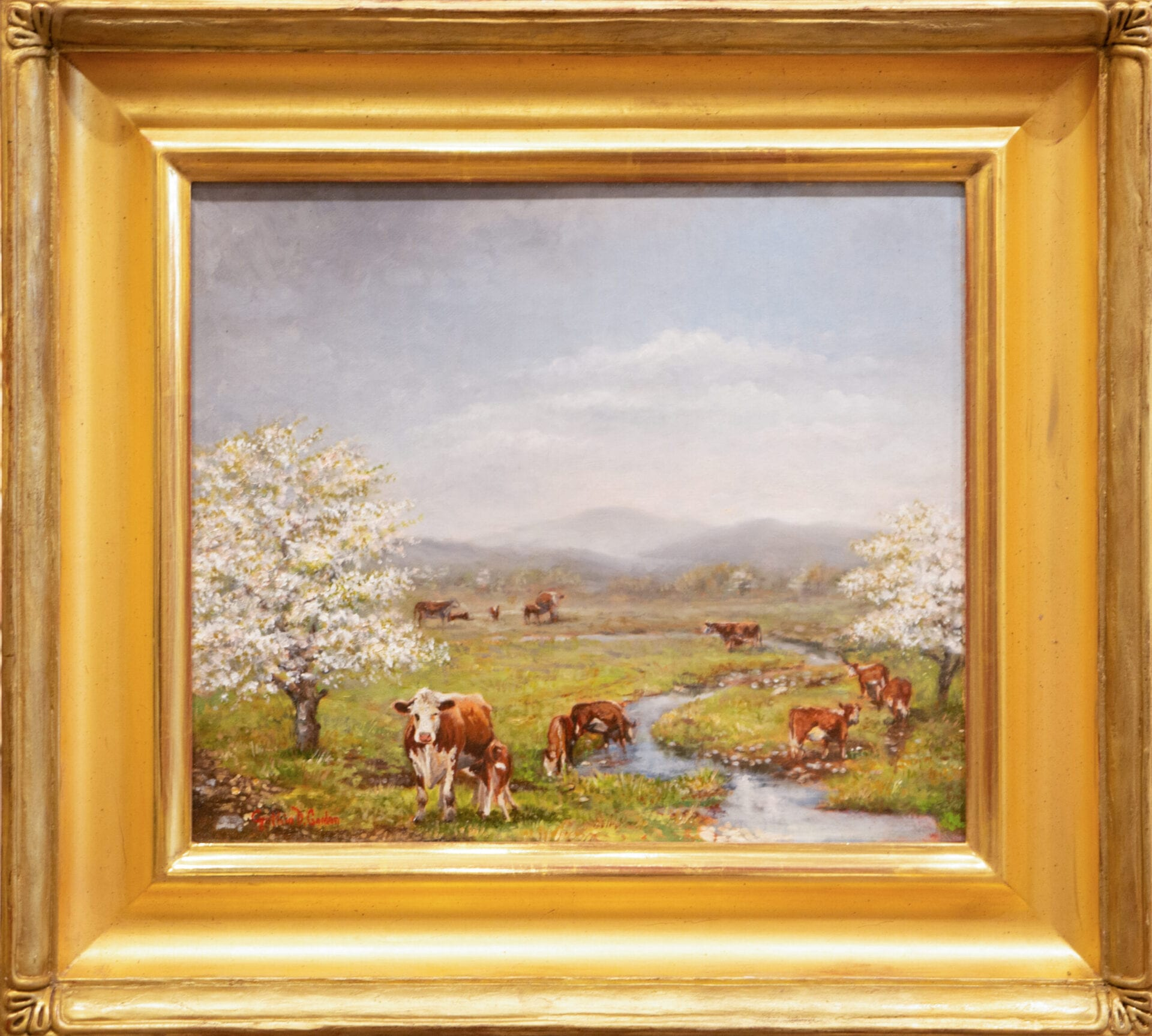 Cows by the Spring | Cynthia Gordon | Oil | 12 x 14""