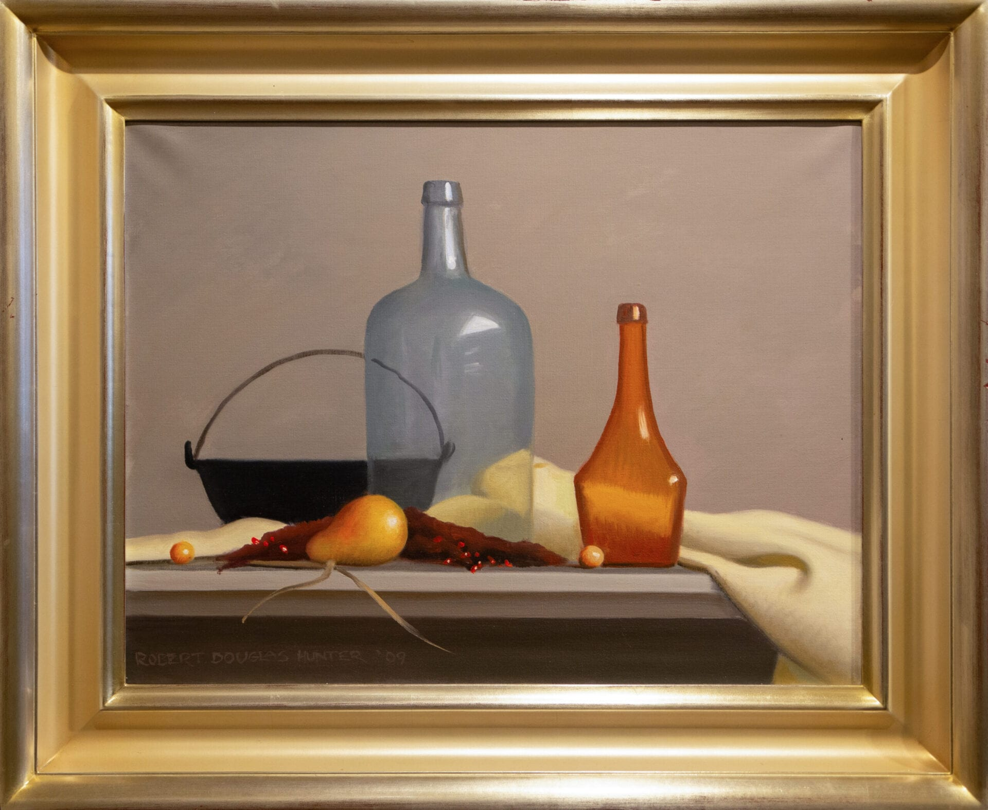 Arrangement with Two Bottles and an Iron Kettle | Robert Douglas Hunter | Oil | 20 x 26""
