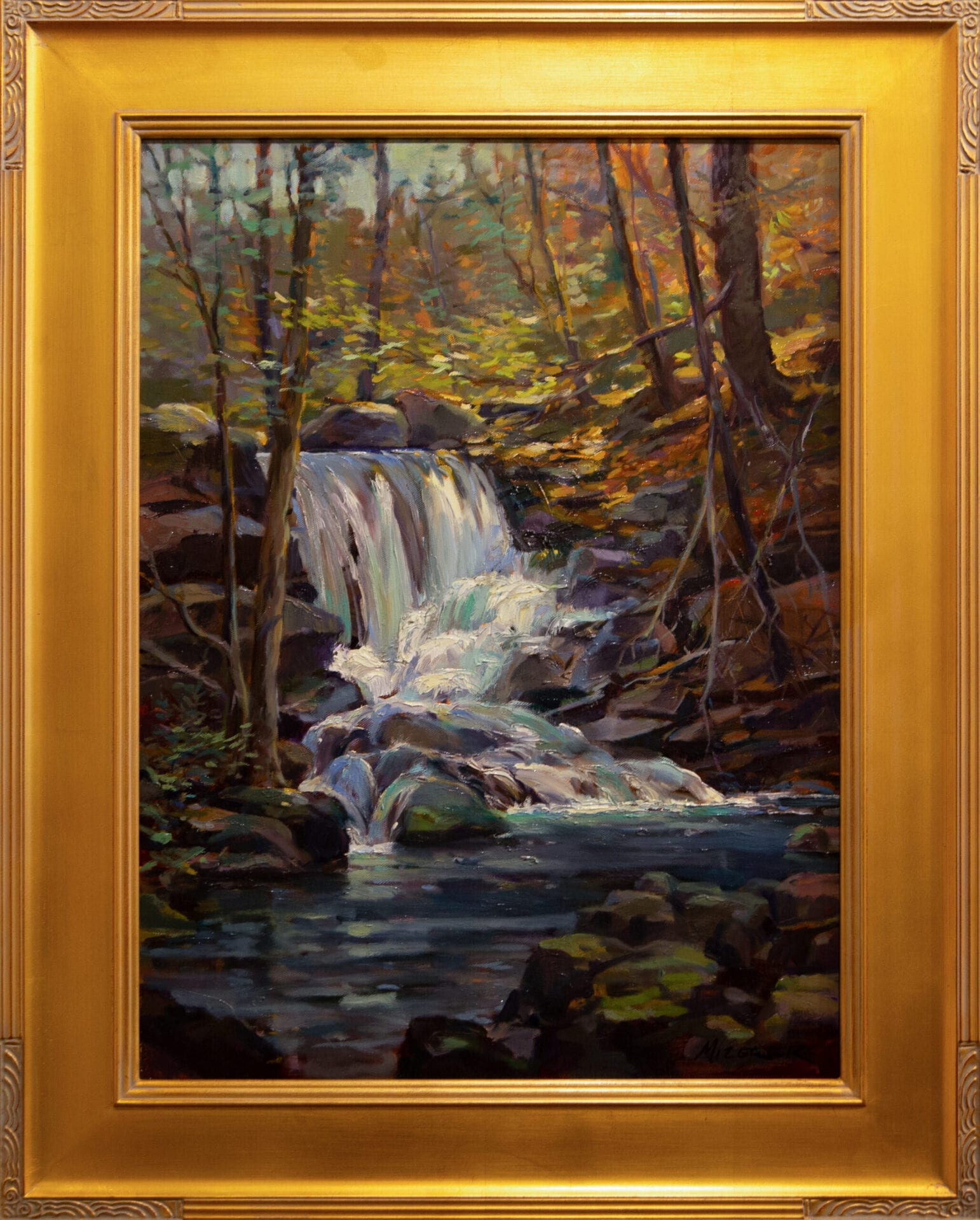 Waterfall by the Trail | Leonard Mizerek | Oil | 24 x 18""