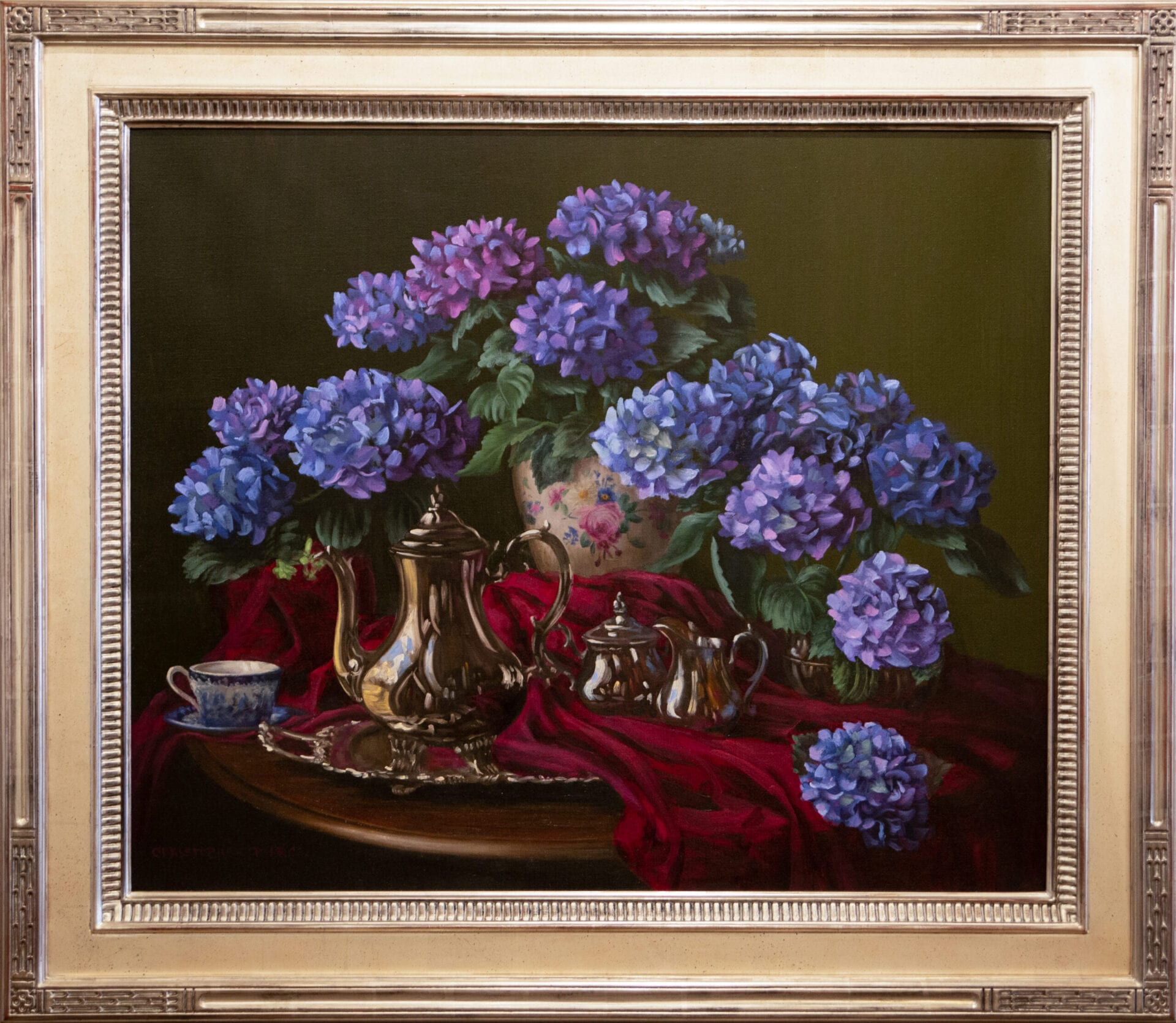 Blue Hydrangeas and Tea | Christopher Pierce | Oil | 30 x 36""