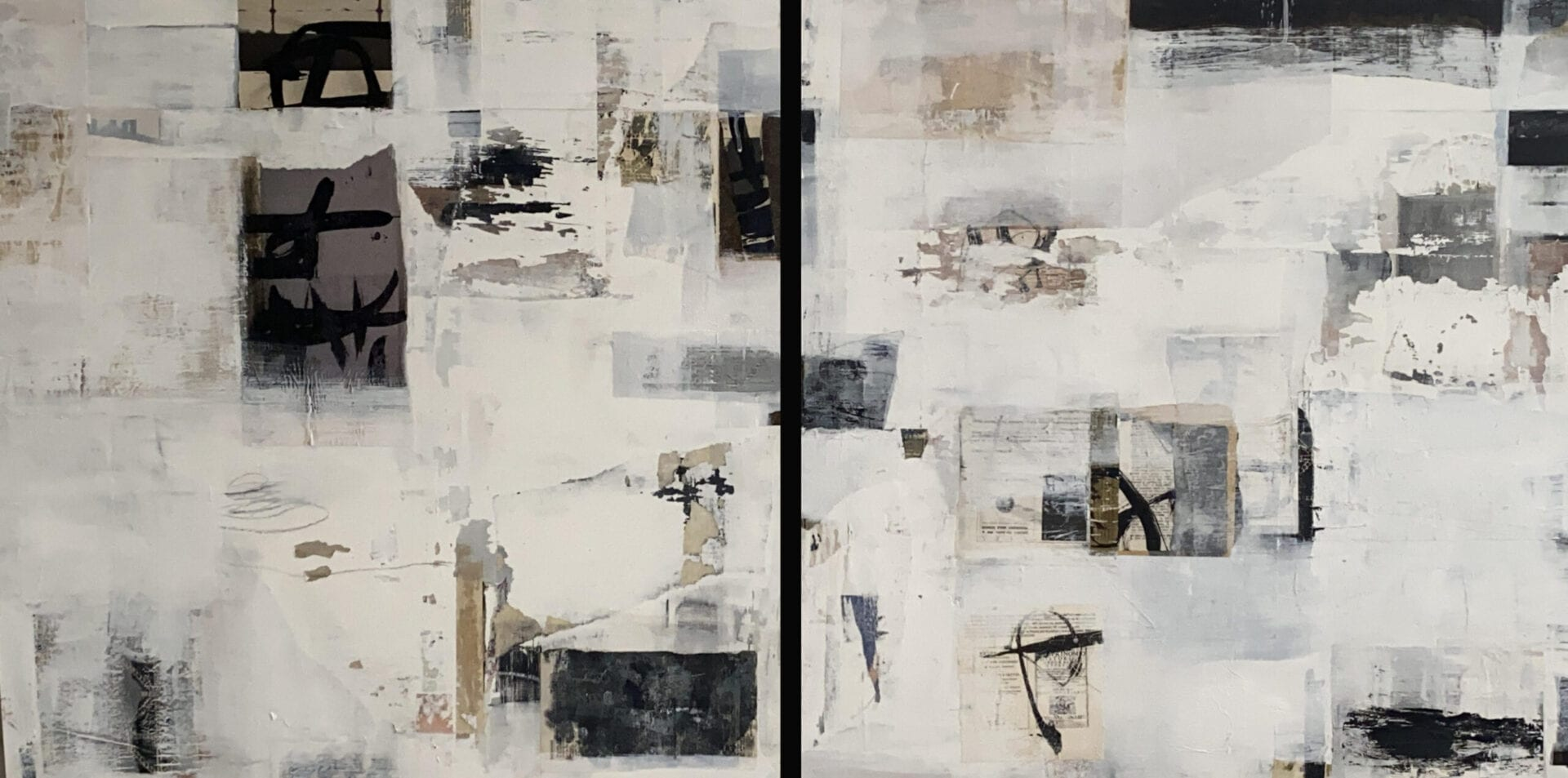 "Questo o Quello | Acrylic/Collage on Panel | 30 x 60"" (diptych)"