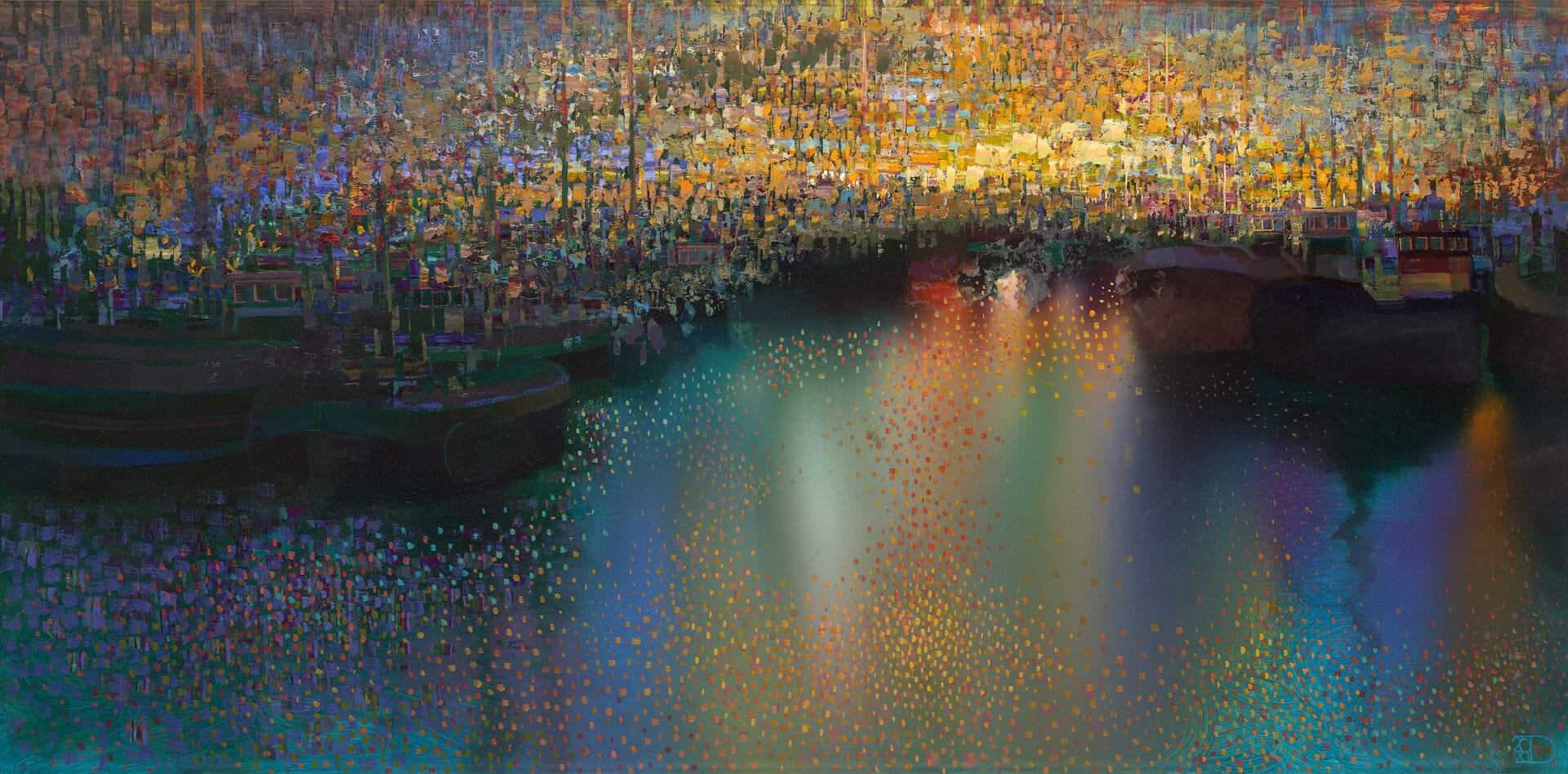 "Northern Harbor Night | Oil on Panel | 24 x 47"""