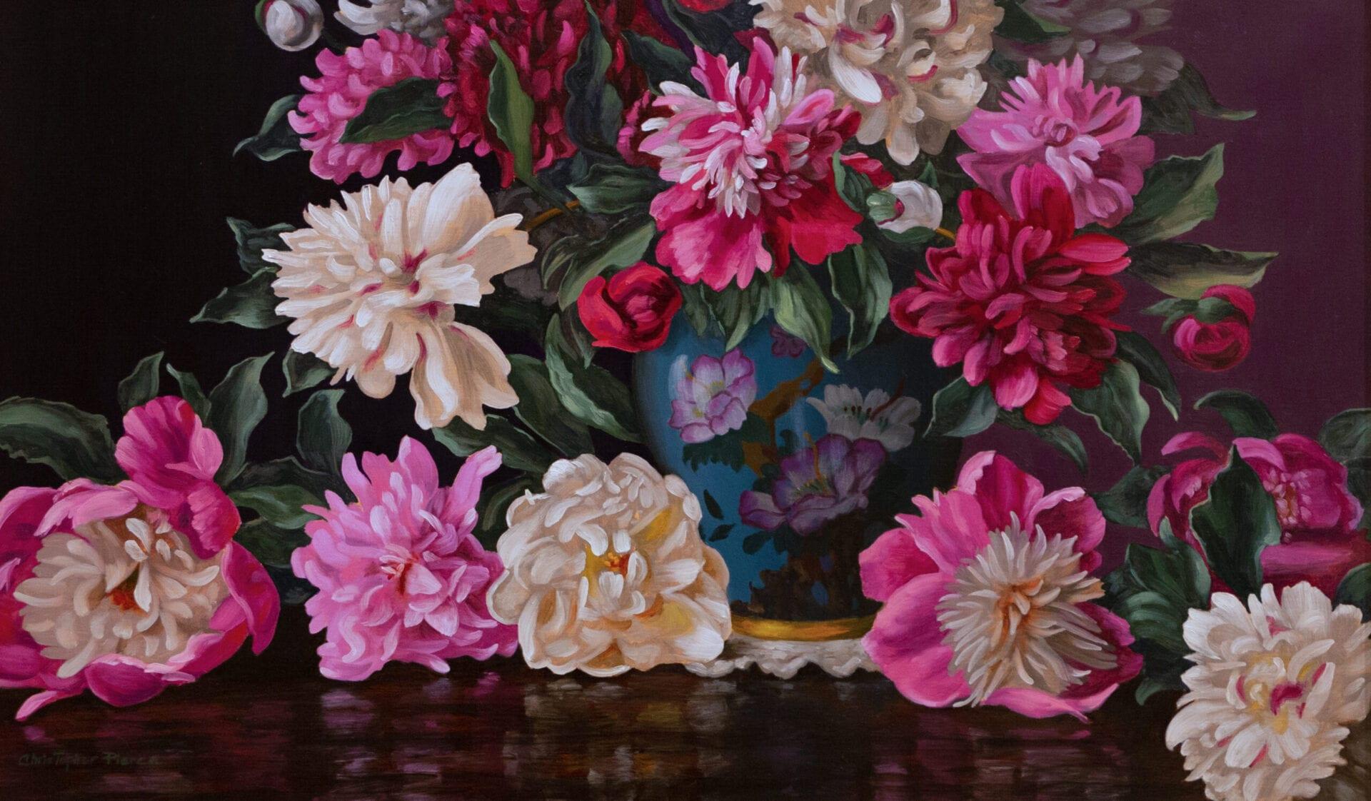 Christopher Pierce - Peonies in Chinese Blue Vase