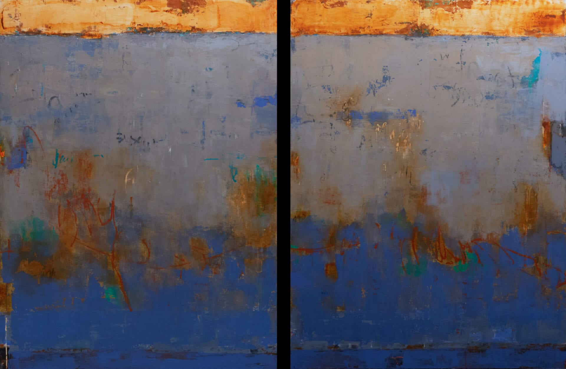 "Molti Mondi | Allison B. Cooke | Oil/Cold Wax on Panel | 48 x 72"" (diptych)"