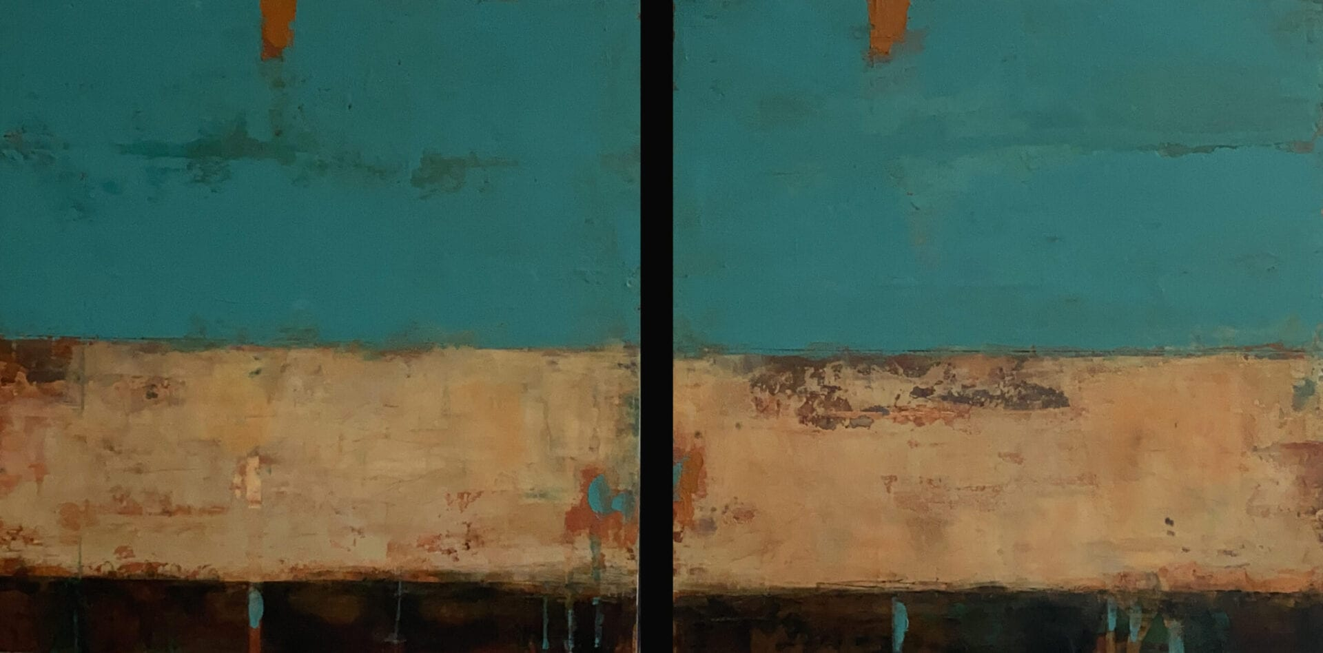 "Momenti Turchese | Allison B. Cooke | Oil/Cold Wax on Panel | 16 x 32"" (diptych)"