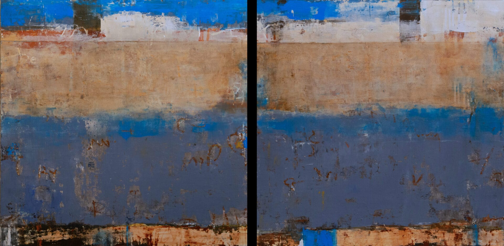 "Ponte Attraverso | Allison B. Cooke | Oil/Cold Wax on Panel | 30 x 60"" (diptych)"