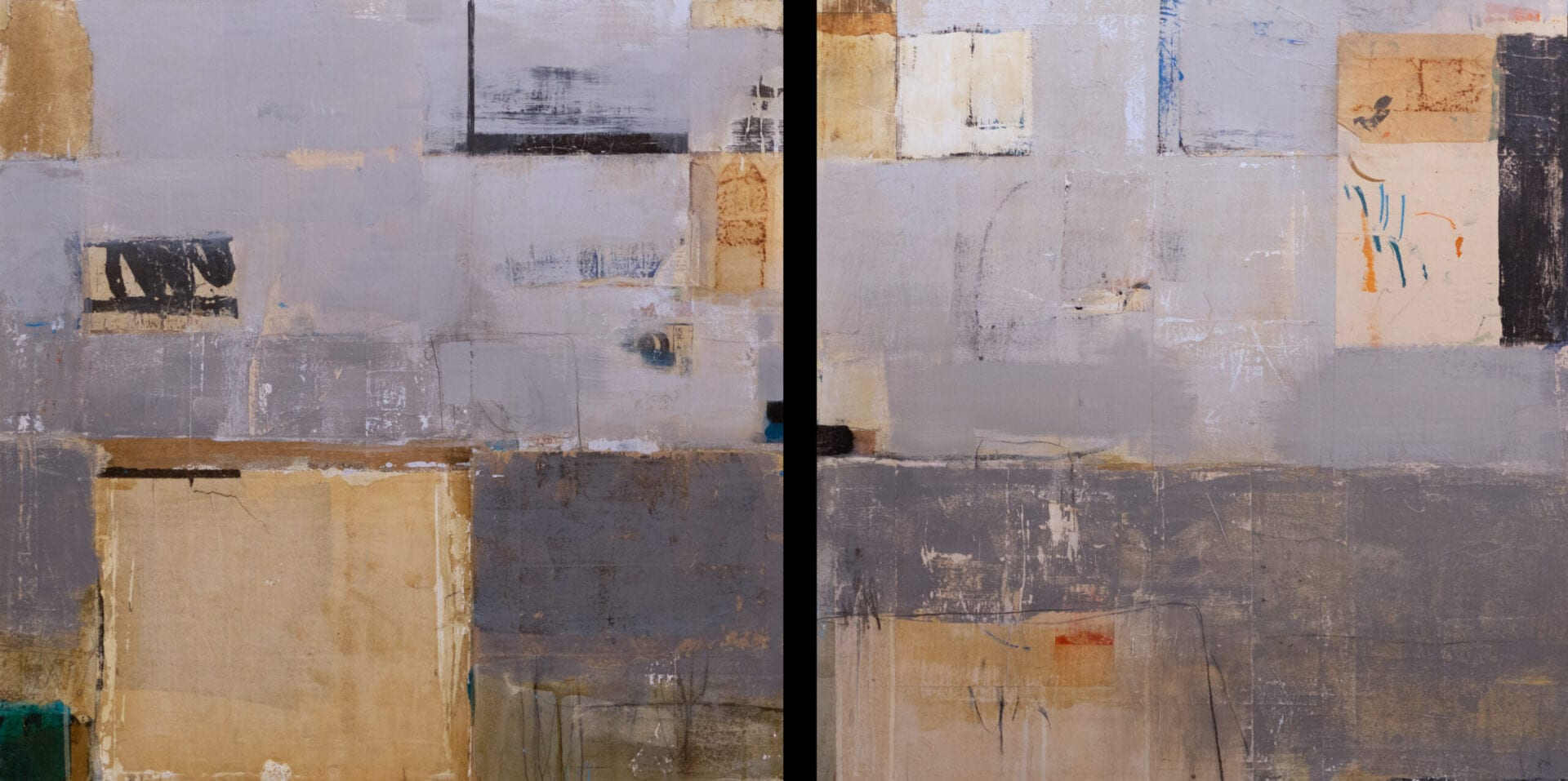 "Raccolta | Allison B. Cooke | Acrylic/Collage on Panel | 30 x 60"" (diptych)"