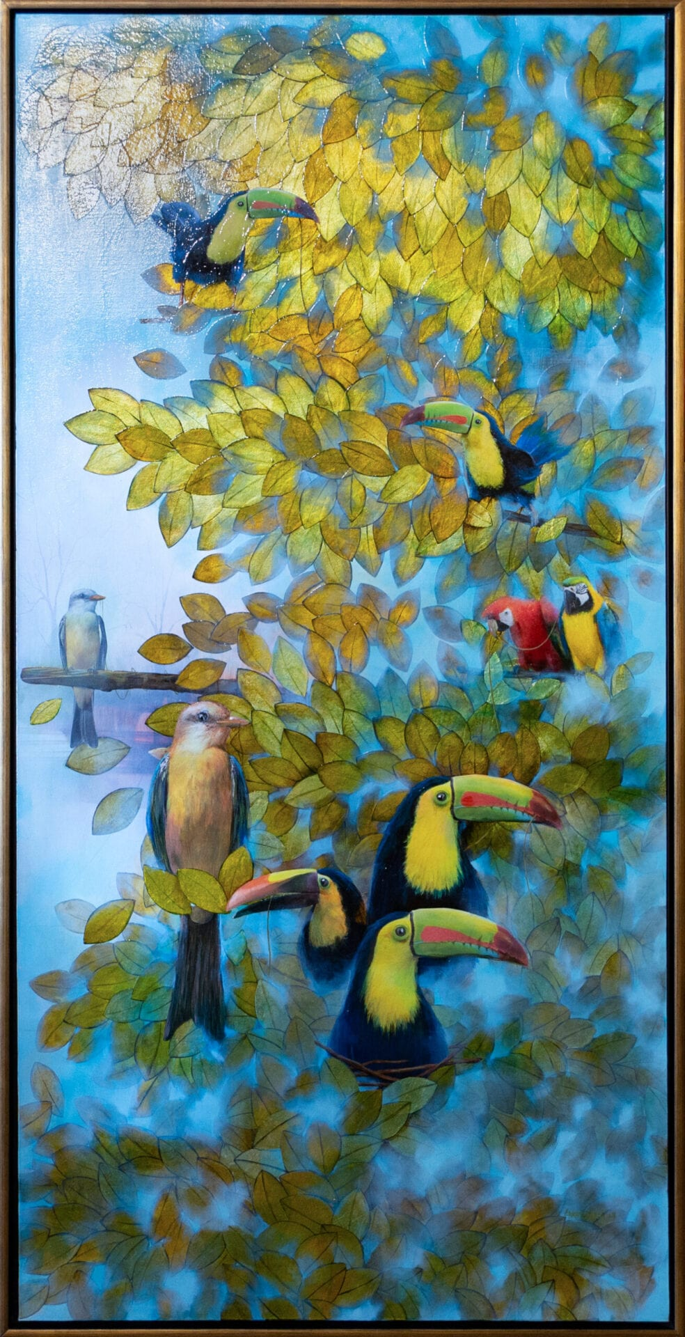 Lost Toucans | Guido Garaycochea | Oil/Mixed Media on Canvas | 72 x 36""