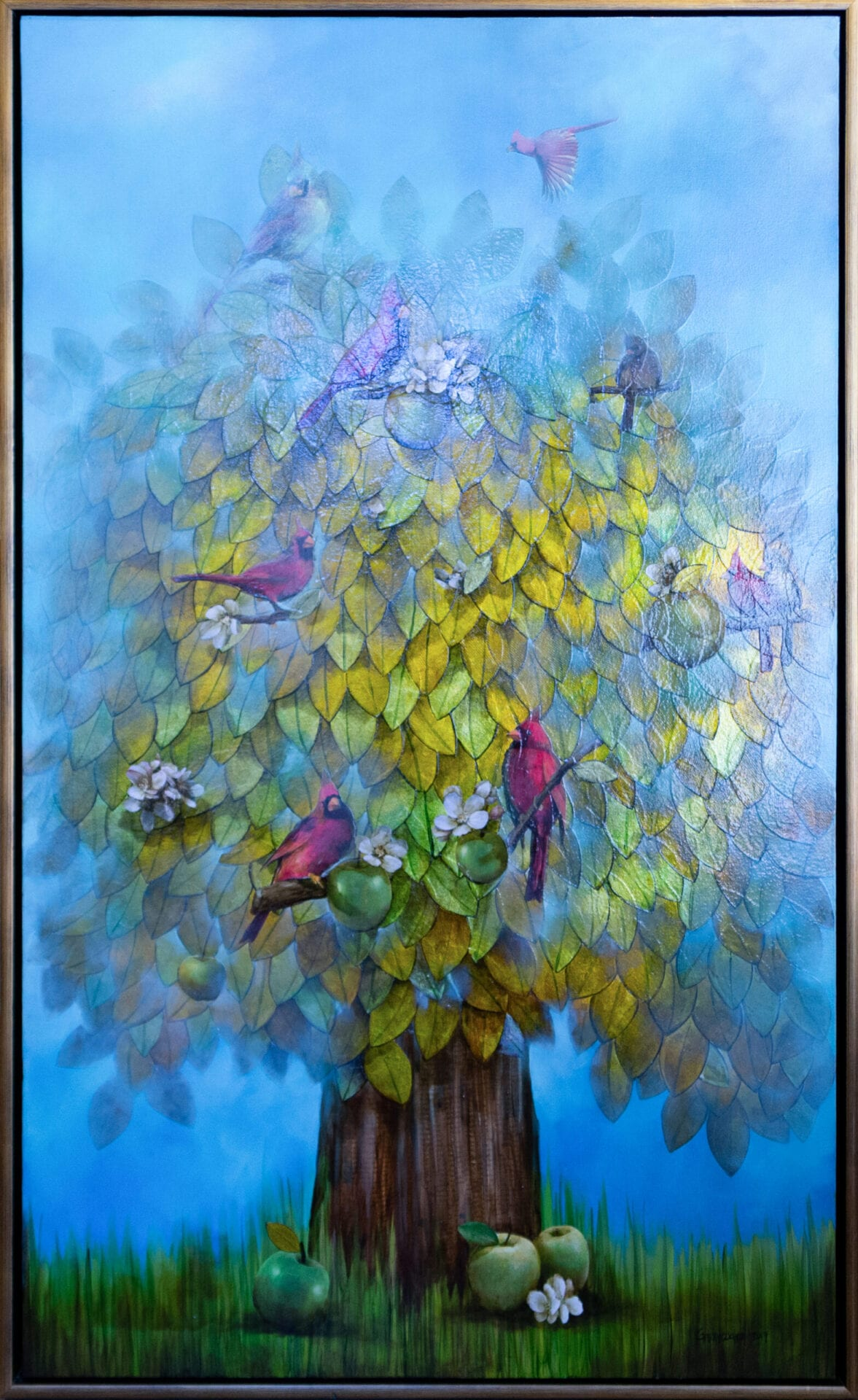 Tree of Gold | Guido Garaycochea | Oil/Mixed Media on Canvas | 60 x 36""