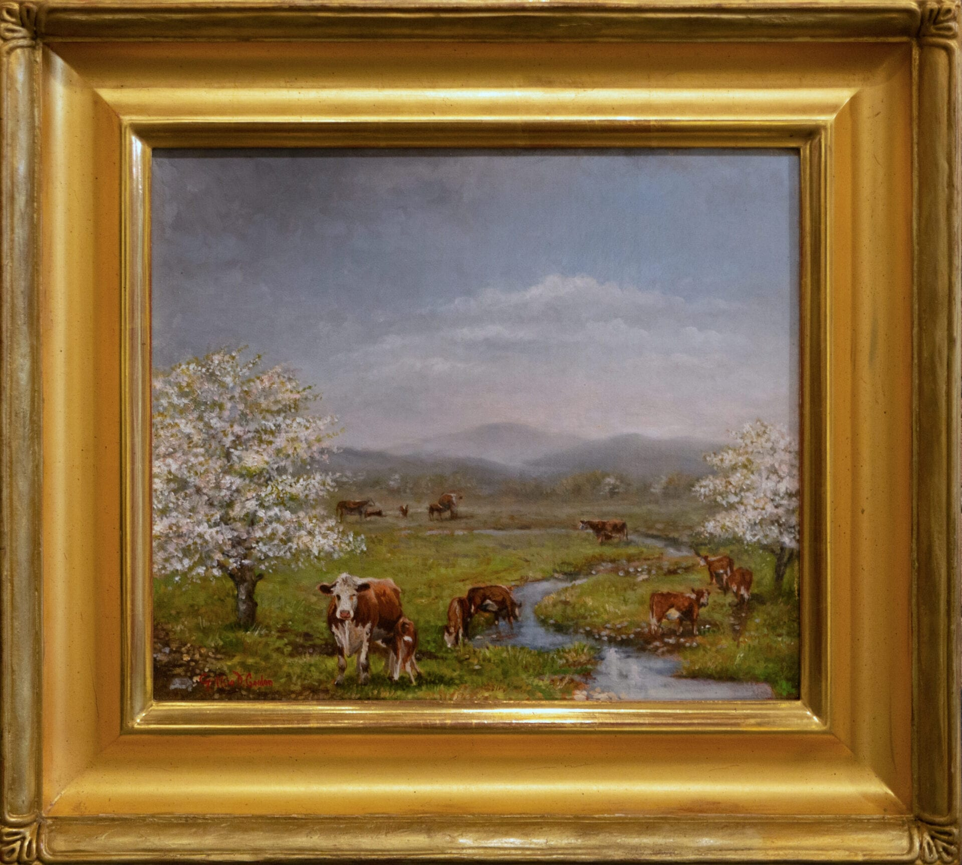 Cows by the Spring | Cynthia Gordon | Oil on Canvas | 12 x 14""