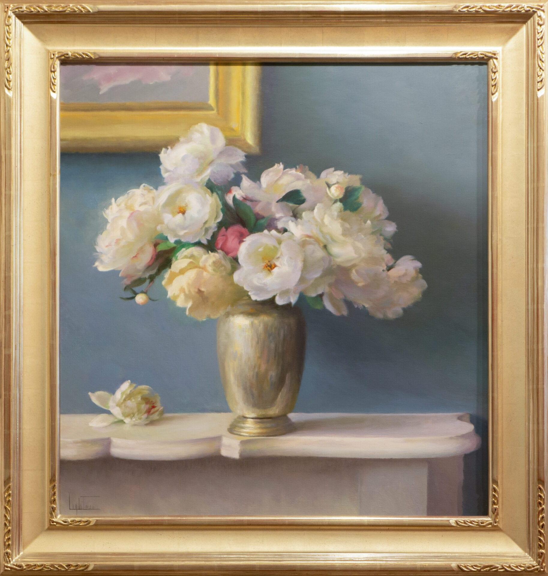 "Arrangement on the Mantel | Jean Lightman | Oil on Canvas | 34.75 x 33"""