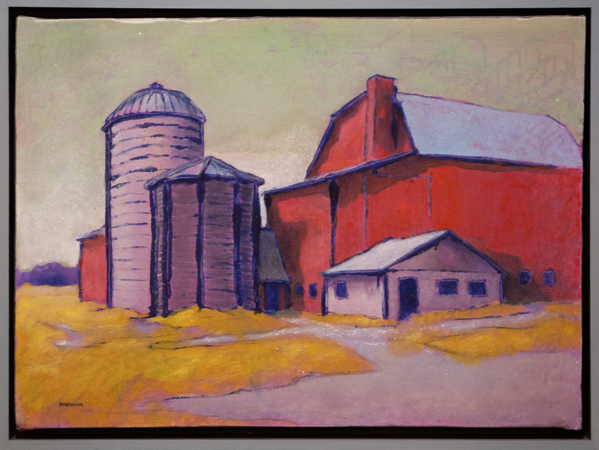 Barn and Silos | Andy Newman | Oil on Panel | 20.5 x 25.5""