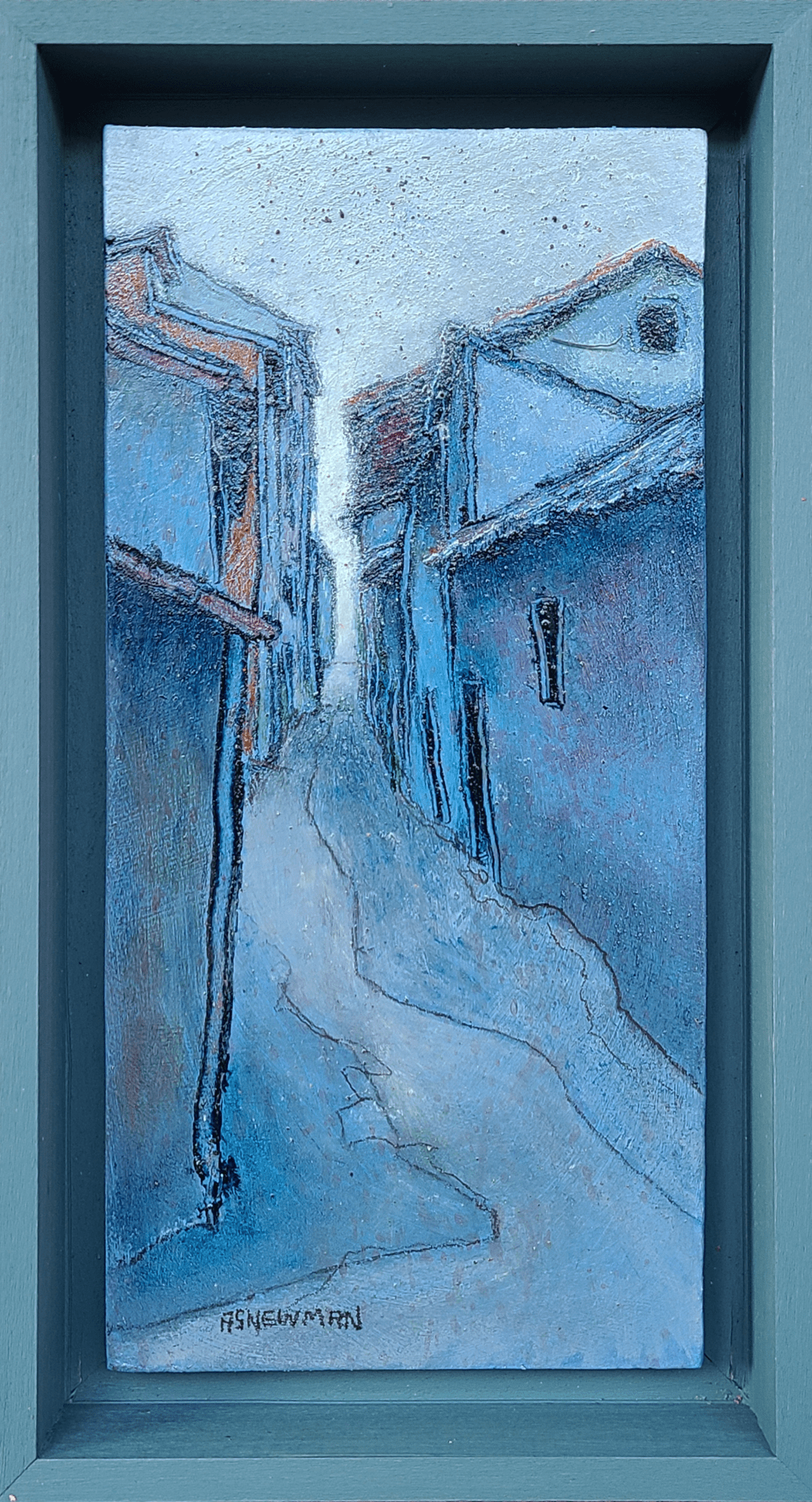 Narrow Passage (La Fresneda) 2 | Andy Newman | Oil on Panel | 9 x 4.25""