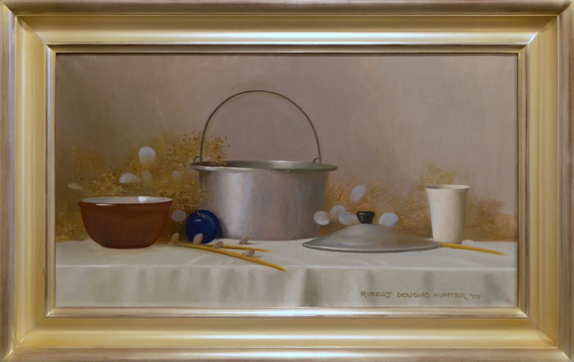 Still Life with Aluminum Cooking Kettle | Robert Douglas Hunter | Oil on Canvas | 20 x 36""