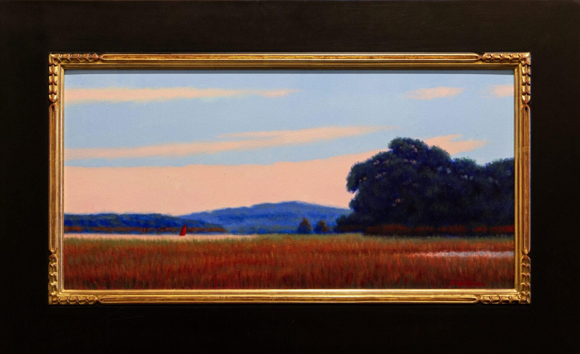 "August Red Sail | Robert Scott Jackson | Oil on Canvas | 12 x 24"""