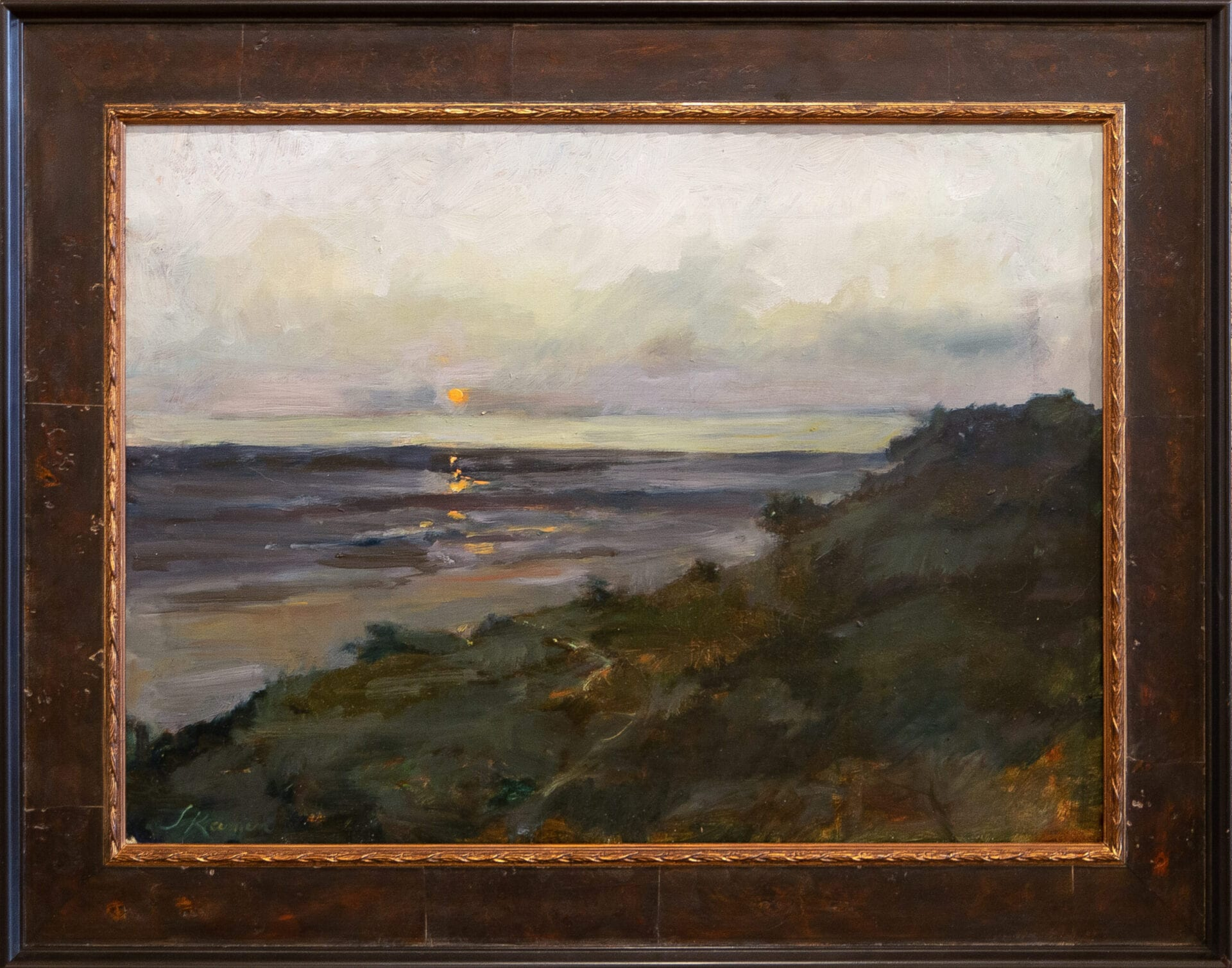 "Beach at Sunset   Jacqueline Kamin   Oil on Panel   17.75 x 24"""