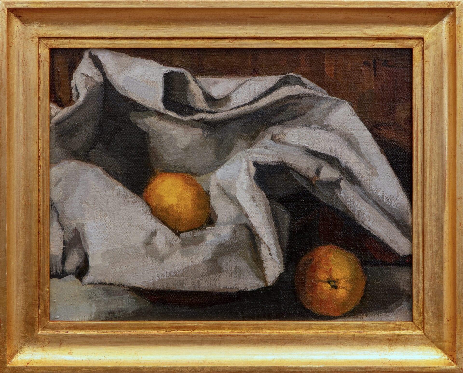 "Navel Oranges and Linen | Paula Rubino | Oil on Linen Board | 9.75 x 12.75"""
