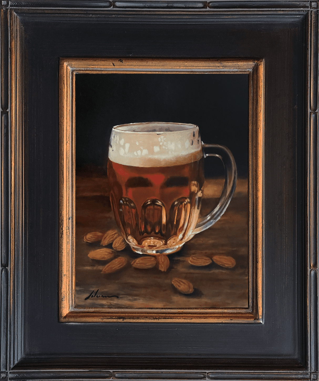 "Michael Lynn Adams | Beer 'n Nuts | oil on canvas | 12x9"""