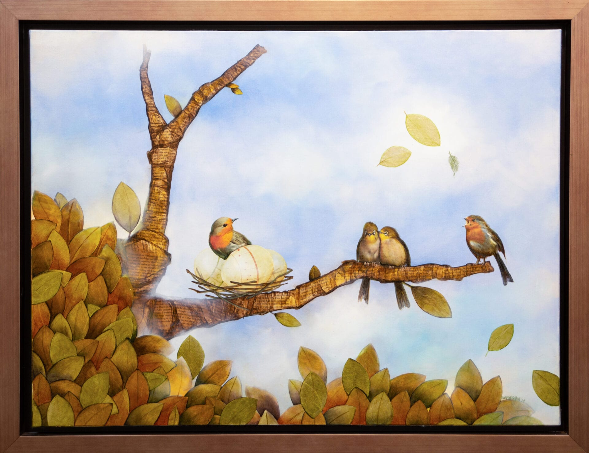 "Bird Fullness | Guido Garaycochea | oil/mixed media on canvas | 30x40"""