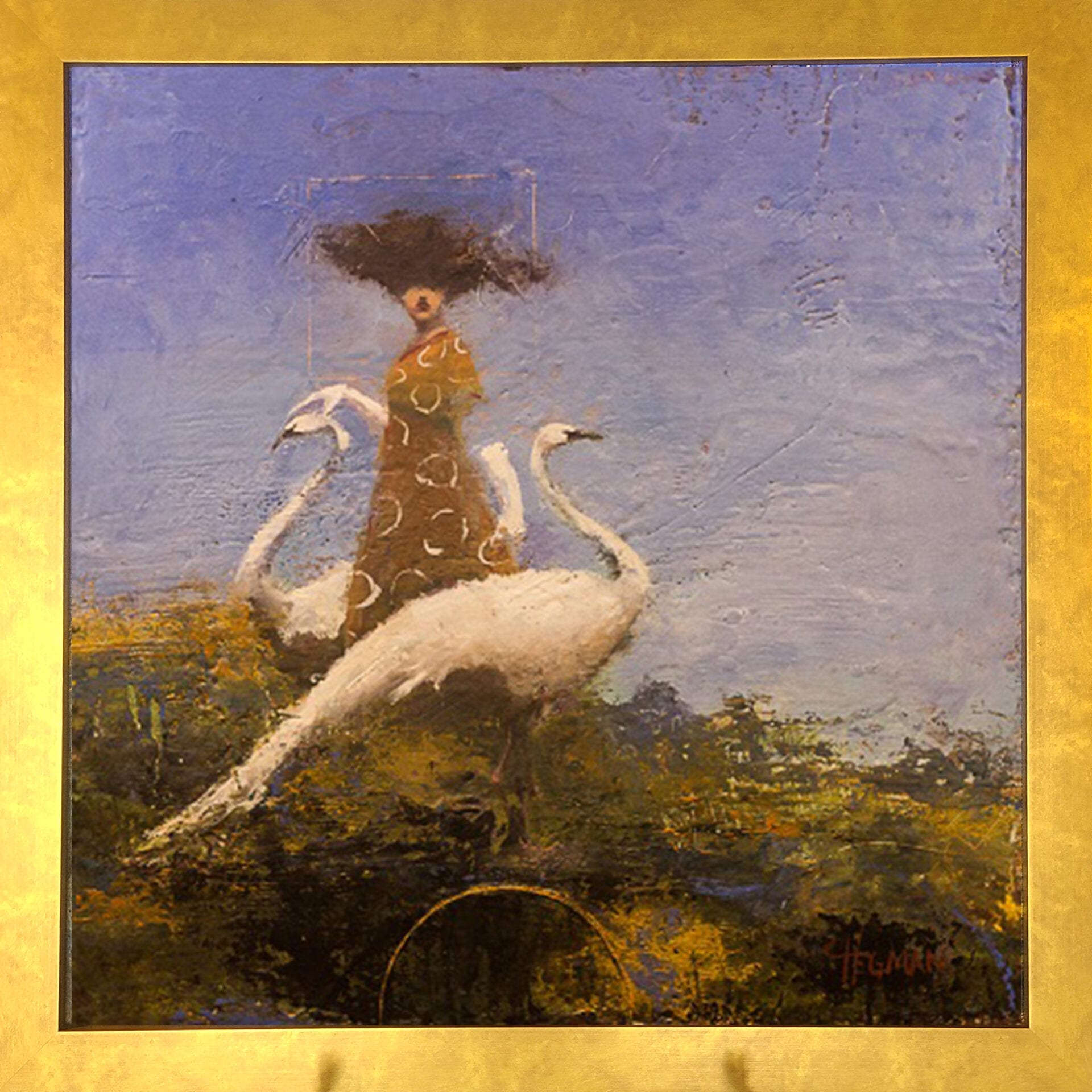 """Figure with Two Swans   Cathy Hegman   oil/wax on wood   24x24"""""""