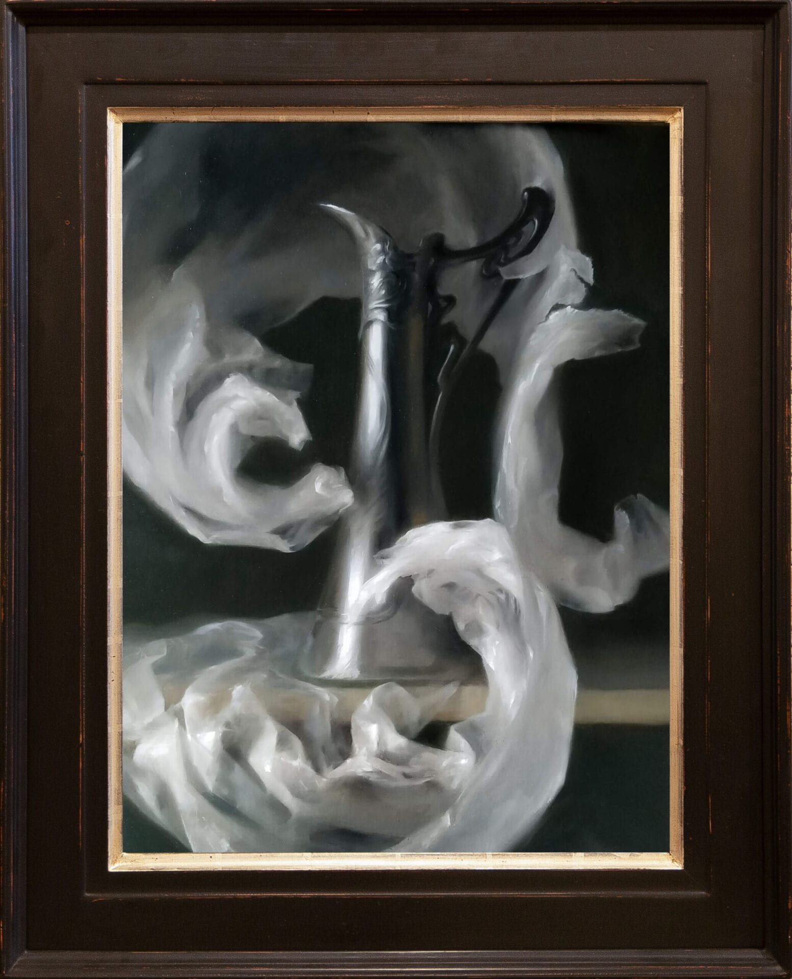 """Tall Pitcher Silver and Glass 