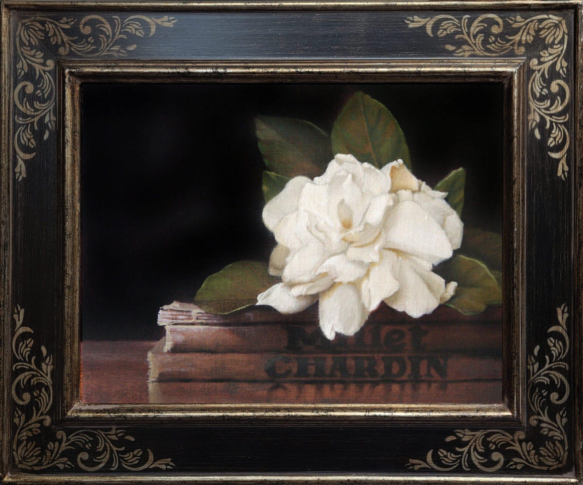Adams_Gardenia_with_Chardin_9x12_Frame