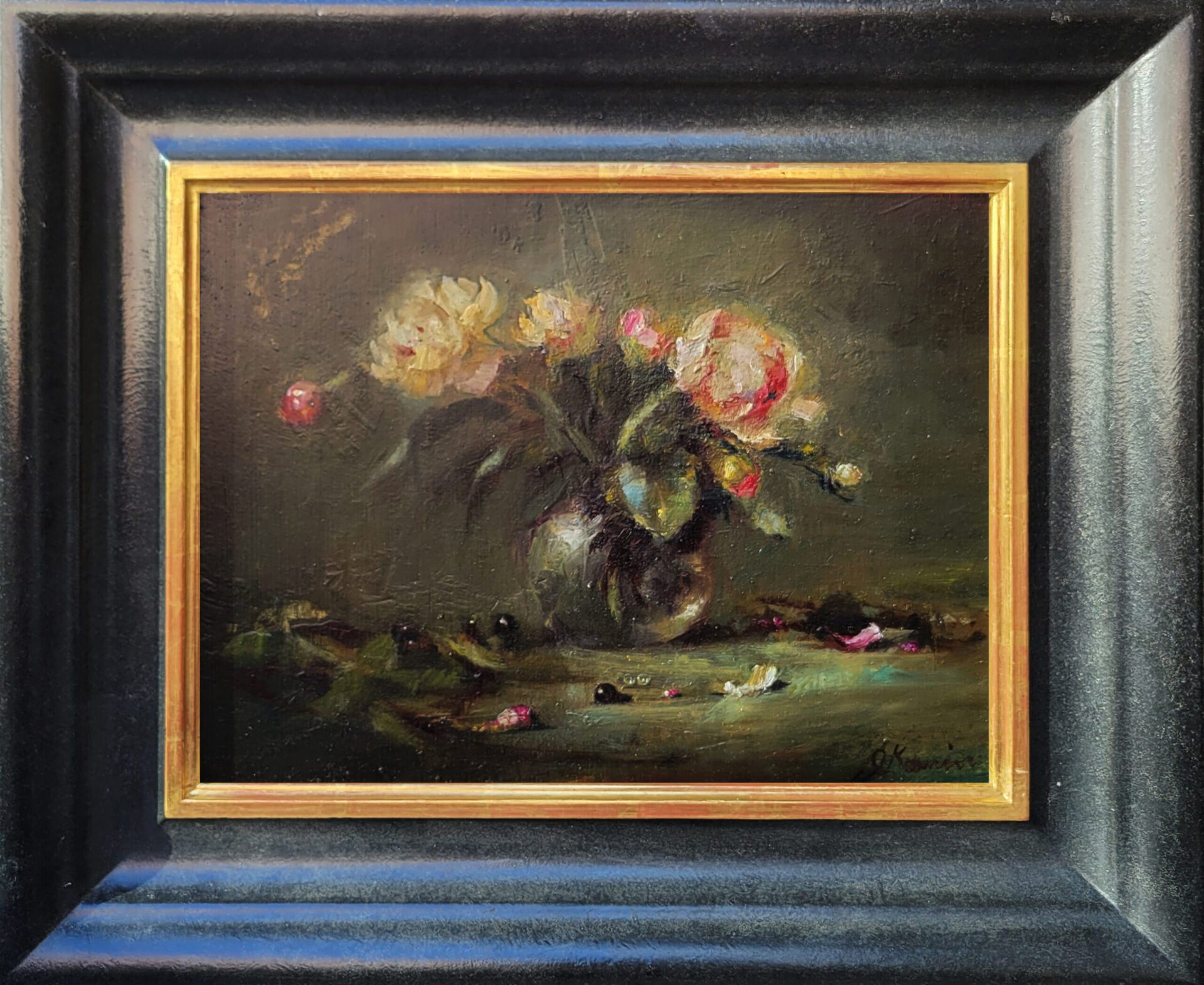 Kamin_Jacqueline_Peonies_in_Glass_12x16_Frame