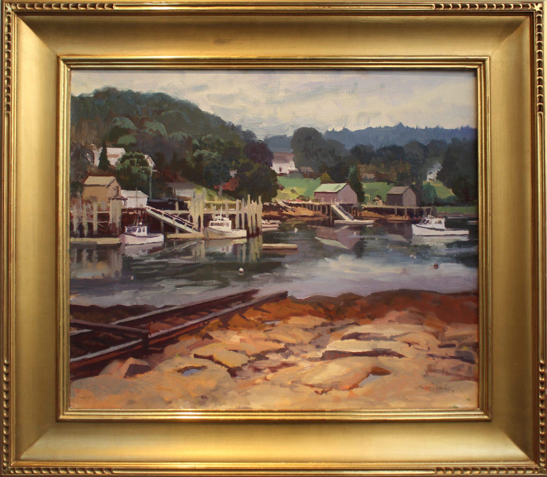 Stone_Caleb_Misty_Morning_Bristol_Harbor_20x24_Frame