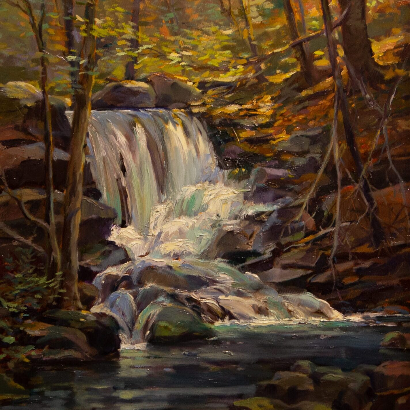 Leonard Mizerek - Waterfall by the Trail